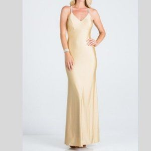 Rhinestone Strap Mermaid Gown in Toffee